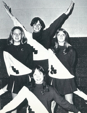 The 1976-77 Steamers Girls Basketball cheerleaders were;