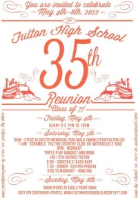 You are invited to celebrate 35th Fulton High School class of 1977 reunion May 4th - 6th, 2012.